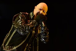 Frontman Rob Halford leads the way for heavy metal band Judas Priest  Saturday at Petersen Events Center.