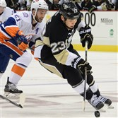Penguins Steve Downie skates up ice during an October game against the Islanders at Consol Energy Center.