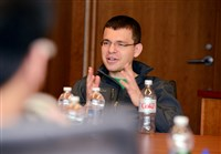 Max Levchin, co-founder of Paypal and chairman of Yelp, talks with students at Carnegie Mellon University on Tuesday.