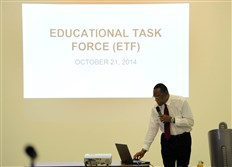 Curtiss Porter, Mayor Bill Peduto's Chief of Education & Neighborhood Reinvestment Officer, addresses the public during a meeting of the Educational Task Force held at the Pittsburgh Science & Technology Academy in Oakland.
