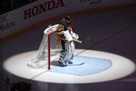 Penguins goalie Marc-Andre Fleury stands in front of his goal during the playing of the Canadian national anthem before Wednesday's game against the Flyers.