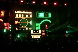 The dynamic visuals for the Skrillex set at Stage AE Tuesday included constantly changing videos, lasers and fog.