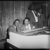 Billy Strayhorn and Billy Eckstine seated at piano, circa 1958.