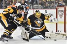 Penguins goalie Marc-Andre Fleury makes a save on the Flyers' Jakub Voracek in the second period Wednesday.