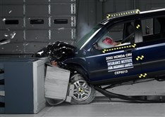 This undated photo provided by the Insurance Institute for Highway Safety shows a crash test of a 2002 Honda CR-V, one of the models subject to a recall to repair faulty air bags.