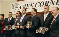 "At the 14th Annual Sen. John Heinz Law Enforcement Awards Day, held at the Sheraton Hotel at Station Square, from left to right: Allegheny county Common Pleas Court Judge Kathleen Durkin, members of the Allegheny County Sheriff's Non-Support Warrant Squad: Sgt Michael Scherbanic , Detective Mark Zimmerman , Sgt. James Klingensmith, Detectives Vincent Longo and Jay Stegena and Chairman Larry Dunn during the ""Amen Corner's"" ."