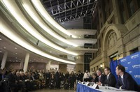 New York City Mayor Bill de Blasio, second from right, and New York Gov. Andrew Cuomo, far right, lead a news conference at Bellevue Hospital to talk about a physician who tested positive for the Ebola virus Thursday.
