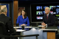 "Senate Minority Leader Mitch McConnell of Kentucky, right, and his Democratic Senate opponent, Kentucky Secretary of State Alison Lundergan Grimes, rehearsed with host Bill Goodman before their appearance on ""Kentucky Tonight"" television broadcast live from KET studios Oct. 13 in Lexington, Ky."