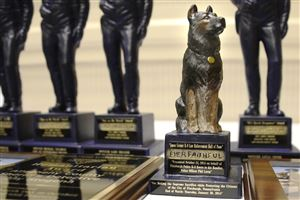 Pittsburgh police K-9 Rocco was honored posthumously with a statue at Amen Corner's annual Sen. John Heinz Law Enforcement Awards Day at the Sheraton Hotel at Station Square.