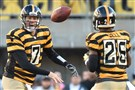 Peter Diana/Post-Gazette 10/26/14 PITTSBURGH: Pittsburgh Steelers quarterback Ben Roethlisberger tosses ball to Le'Veon Bell in the first quarter against the Indianapolis Colts at Heinz Field Pittsburgh Pa.
