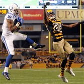 The Colts' Donte Moncrief pulls in a pass for a touchdown over  Steelers CB Cortez Allen in the third quarter against the Colts Sunday afternoon, October 26, 2014, at Heinz Field.