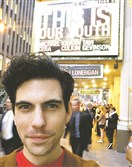 Nick Lehane in front of the theater where he understudies the two lead roles.