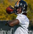 Steelers rookie receiver Martavis Bryant tosses the ball at practice on the South Side Wednesday afternoon.