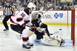 Devils' Jacob Josefson scores on a break away on  goal Marc-Andre Fleury in the second period at the Consol Energy Center.