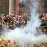 Exploding pumpkins, which are blown up with liquid nitrogen, at last year's Carnegie Science Center Great Pumpkin Smash.