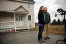 Nurse Kaci Hickox, joined by her boyfriend Ted Wilbur, speak with the media Friday at their home in Fort Kent, Maine.