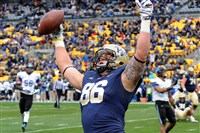 Pitt tight end J.P. Holtz celebrates after scoring a touchdown during last season's game against Duke.