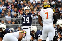 Penn State Nittany Lions quarterback Christian Hackenberg  calls a play at the line against the Maryland Terrapins during a game at Beaver Stadium earlier this month.