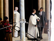 "Will Smith on the steps of St. Benedict the Moor, a Catholic church in the Hill District, during filming  of ""Concussion."""