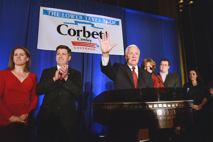 20141104jrCorbettLocal6-2 Gov. Tom Corbett addresses supporters Tuesday night at the William Penn Hotel in Downtown Pittsburgh.