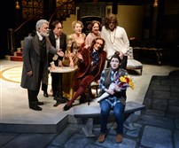 "(Front) Erika Cuenca is Catherine, Brent Harris is Oscar Wilde (seated) and (back row, left to right) Sam Tsoutsouvas is Victor Hugo, Tony Triano is Gioacchino Rossini, Deanne Lorette is Sarah Bernhardt, Kati Brazda is Isadora Duncan and Daniel Hartley is Jim Morrison in Pittsburgh Public Theater's ""L'Hotel."""