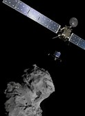 This picture released by the European Space Agency shows a combination of images to illustrate the deployment of the Philae lander to comet 67P/Churyumov–Gerasimenko from the Rosetta spacecraft.