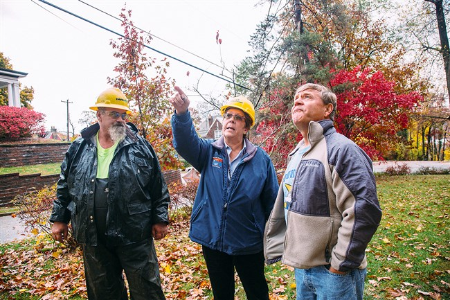 Jenny Arkett, the Vegetation Management Coordinator at Duquesne Light, and Sam Martin, a member of a line clearance crew from Davey Tree Expert Company,  talk to Ben Avon resident Rob Galbraith about removing a tree on his property. PowerSource.