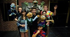 "Members of the cast of the University of Pittsburgh Theatre Arts Deparment production of ""Avenue Q."" From left: Tim Kaniecki, Chih-hsuan Chang, Alex Dittmar, Lauryn Thomas and James Williamson; foreground: Daria Sullivan as Gary Coleman."