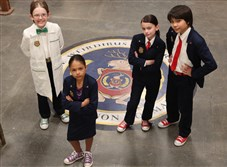 """Odd Squad,"" a live-action series that will help kids ages 5-8 learn math, premieres Wednesday on PBS Kids with Sean Michael Kyer as Agent Oscar, left, Millie Davis as Ms. O, Dalila Bela as Agent Olive and Filip Gljo as Agent Otto. The Fred Rogers Company is a producer."