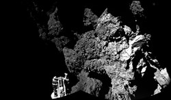 The combination photo of different images taken with the CIVA camera system released by the European Space Agency today shows Rosetta's lander Philae on the surface of Comet 67P/Churyumov-Gerasimenko. One of the lander's three feet can be seen in the foreground. Philae became the first spacecraft to land on a comet when it touched down Wednesday on the comet.