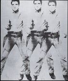 "Andy Warhol's 1963 ""Triple Elvis"" in ink and silver paint sold for $81.9 million at Wednesday's auction by Christie's in New York. The image was taken from Elvis Presley's publicity shot for his 1960 movie ""Flaming Star."""