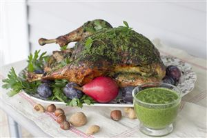 A herb-roasted Thanksgiving turkey inspired by South American chimichurri, a richly herby sauce that pairs beautifully with roasted meats.