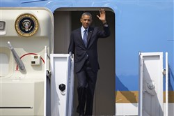 President Barack Obama arrives at the Yangon airport on Friday.