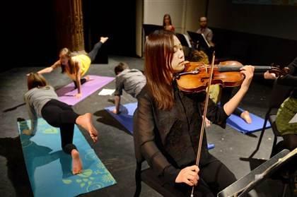 Yejee Kim, a 26-year-old master's student at CMU, plays violin with Yoga Sebastian Bach, an entry in the Rembacher Chamber Music Competition at the CMU's School of Music. Read Elizabeth Bloom's commentary on the first Rembacher Chamber Music Competition.