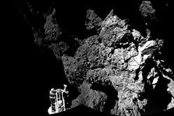 The combination photo of different images  taken with the CIVA camera system  released by the European Space Agency ESA on Thursda shows  Rosetta's lander Philae on the surface of Comet 67P/Churyumov-Gerasimenko.