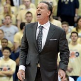 Pitt head coach Jamie Dixon calls out a play to his team as they take on Niagara in the first half at the Petersen Events Center Friday night, November 14, 2014.