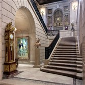 The Grand Staircase at The Frick Collection on Manhattan's Museum Row on the Upper East Side currently has a velvet rope to keep visitors from going upstairs to see the private rooms. By 2020, these private living quarters will be converted into exhibition space.