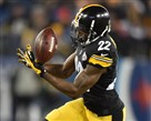Steelers cornerback William Gay intercepts the ball against the Titans in the first quarter at LP Field in Nashville, Tenn., Monday night.