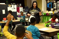 Michelle Jennings leads her fourth-grade class at Pittsburgh King on the North Side in November.