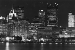 A view of Pittsburgh on Light Up Night, Nov. 8, 1991, from West Carson Street.
