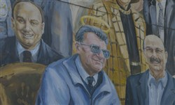 "Detail of Joe Paterno from the mural ""Inspiration"" by Michael Pilato."