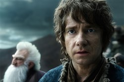 "Ken Stott as Balin and Martin Freeman as Bilbo in the fantasy adventure ""The Hobbit: The Battle of the Five Armies."""