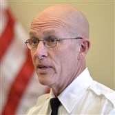 Acting Pittsburgh police Chief Cameron McLay addresses people gathered Tuesday to attend a promotion ceremony for police at headquarters on the North Side.