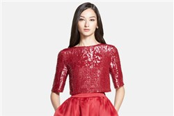Cardinal red dress with sequined bodice from the St. John Collection at Nordstrom's.