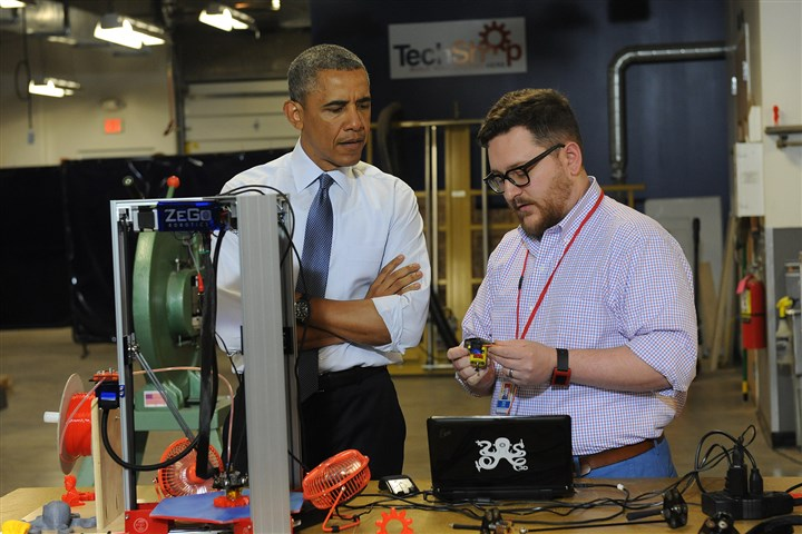 President Obama Bakery Square President Obama listens as Andy Leer gives a demonstration on a 3D printer during a visit to TechShop Pittsburgh in Bakery Square in June.