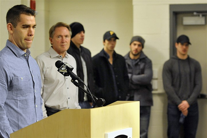 20141119radDupuisSpts02-1 The Penguins' Pascal Dupuis will miss at least six months due to a blood clot in his lung. At right are Penguins coach Mike Johnson, forward Evegeni Malkin, goalie Marc-Andre Fleury, defenseman Kris Letang and forward Sidney Crosby.