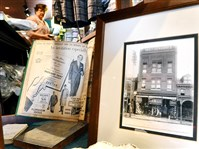 A display of pictures and antique items are seen commemorating the 150th annivesary of the men's clothing store Weitzenkorn's in Pottstown, Pa.