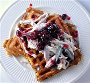 Creamed Turkey with Cornmeal Waffles.