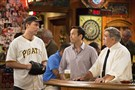 "Owen Benjamin, left, Steve Byrne and Dan Lauria in TBS's Pittsburgh-set sitcom ""Sullivan & Son."""