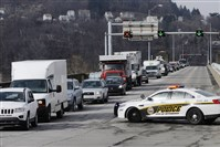 Traffic from outbound Route 28 is detoured over the 31st Street Bridge this afternoon after an accident in which a truck tire fell off, crossed the median and smashed into an oncoming vehicle, killing the driver.